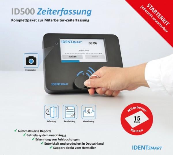 IDENTSmart Zeiterfassung ID500TR StarterKit inkl. 15 Mitarbeiter-Karten